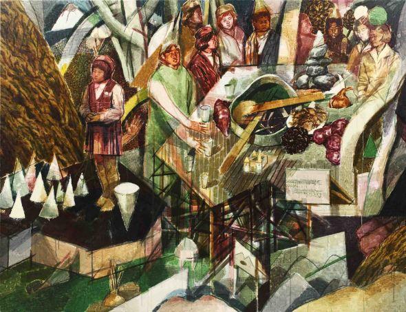 3_연못 대화들, 2015, watercolor on canvas, 150.0 x 193