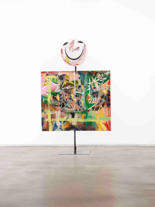 백경호_Clint Eastwood_Oil, charcol, spray on canvas_120x140cm, dia 55cm_2016