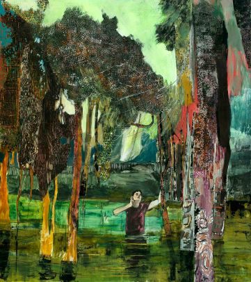 1.Hernan Bas_A boy in a bog_2010_Acrylic, airbrush and block print on paper_147.31x132