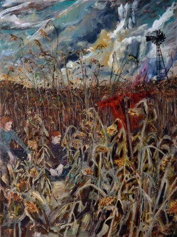 4.Hernan Bas_Chidren of the Sunflower_2007_mixed media on linen over panel_101.6x76