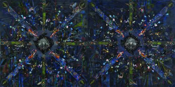 최수정_위아래양옆 Bottom to Top, Left to Right and Vice Versa_2017_Acrylic and embroidery on canvas_2 pieces, each 181.8 x 181.8 cm.jpg